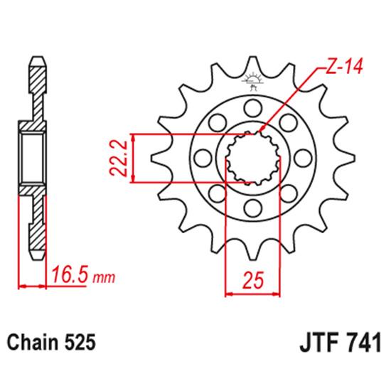 Передняя звезда JTF 741, 15 зубьев с резиновым демпфером