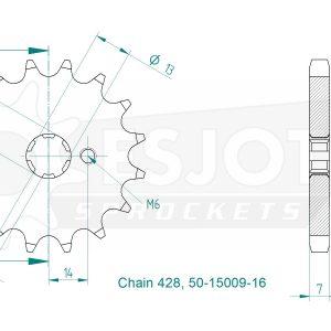 Передняя звезда Esjot 50-15009-16 (аналог JTF428.16)