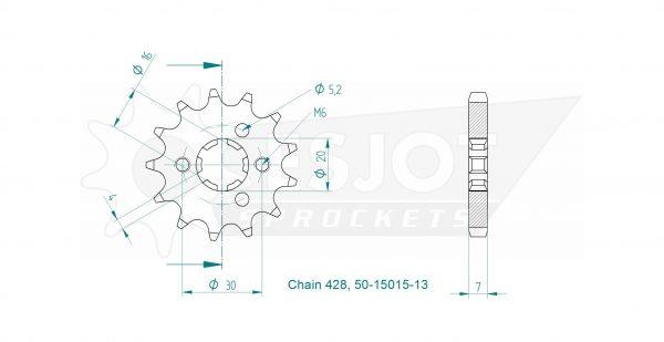 Передняя звезда Esjot 50-15015-13 (аналог JTF417.13)
