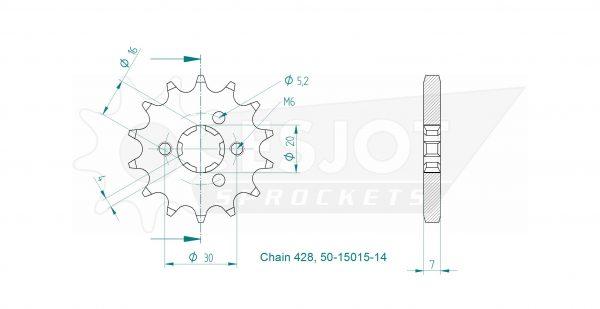 Передняя звезда Esjot 50-15015-15 (аналог JTF417.15)