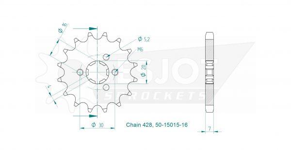 Передняя звезда Esjot 50-15015-16 (аналог JTF417.16)