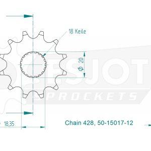 Передняя звезда Esjot 50-15017-12 (аналог JTF426.12)