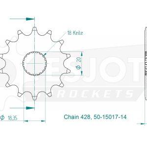 Передняя звезда Esjot 50-15017-14 (аналог JTF426.14)
