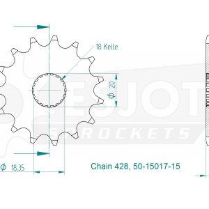 Передняя звезда Esjot 50-15017-15 (аналог JTF426.15)