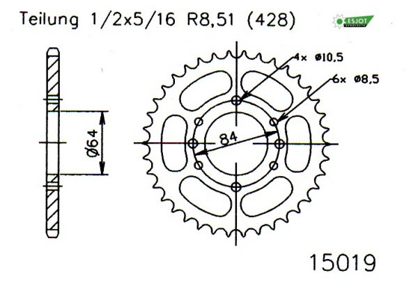 Задняя звезда Esjot 50-15019-44 (аналог JTR809.44)