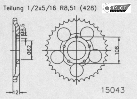 Задняя звезда Esjot 50-15043-51