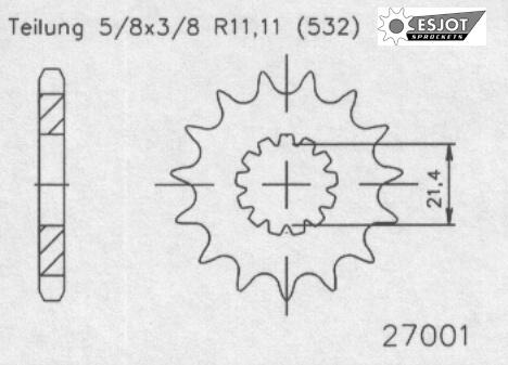 Передняя звезда Esjot 50-27001-15 (аналог JTF440.15)
