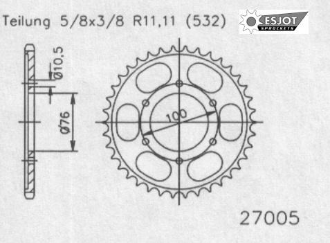 Задняя звезда Esjot 50-27005-44 (аналог JTR827.44)