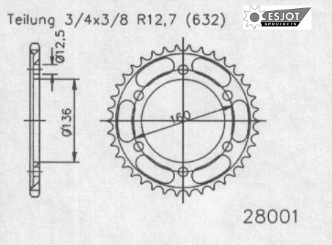 Задняя звезда Esjot 50-28001-40
