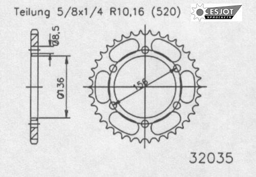 Задняя звезда Esjot 50-32035-46 (аналог JTR817.46)