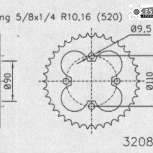 Задняя звезда Esjot 50-32088-38 (аналог JTR1354.38)