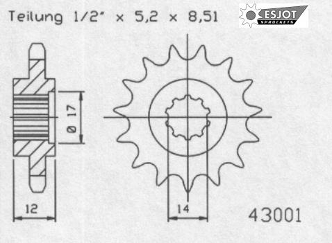 Передняя звезда Esjot 50-43001-14